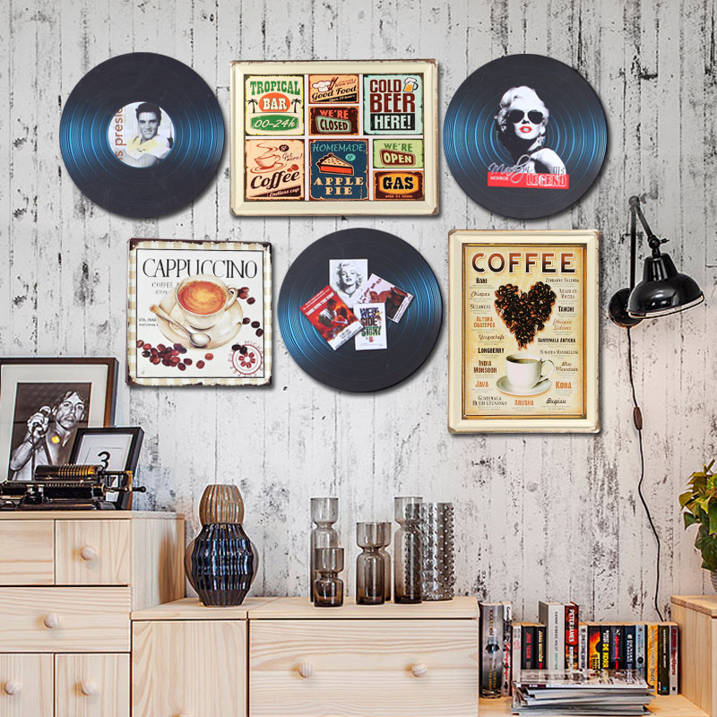 Do the old retro metal painting cafe bar restaurant clothing store on the wall wall decorations wall murals wall surface