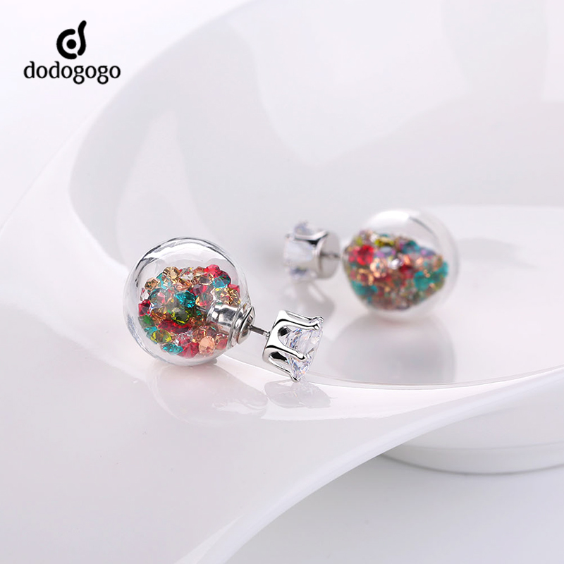 Dodogogo glass ball diamond earrings diamond earrings korean female pearl earrings personalized fashion jewelry genuine