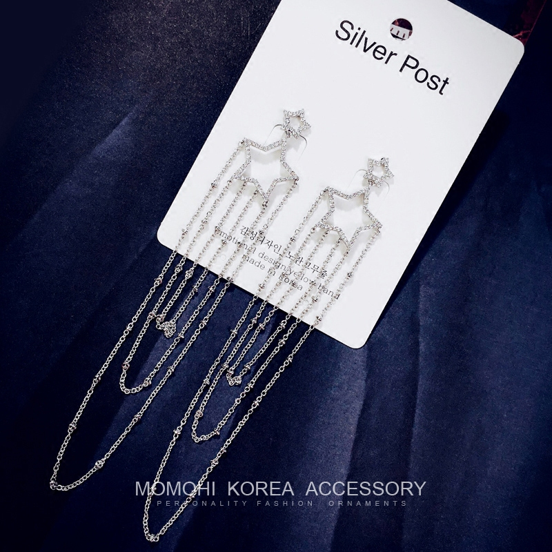 Dongguk door import 925 silver needle zircon star tassel earrings female korean temperament earrings with jewelry 0 days