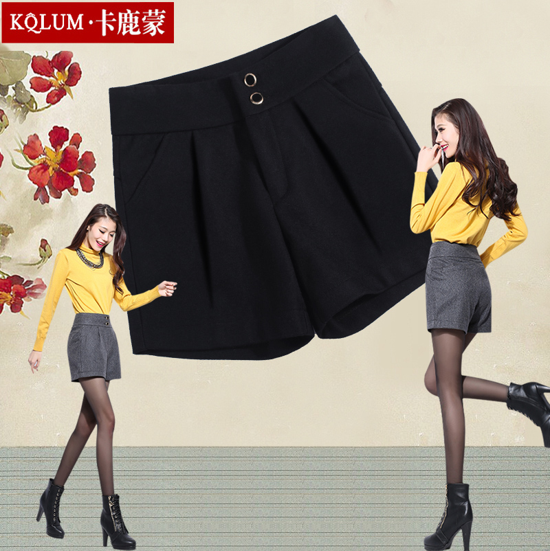 Dongkuan 2016 new fall thick woolen shorts female high waist wide leg pants female trousers boots pants casual pants
