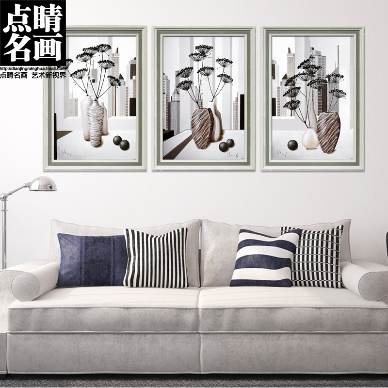 Dotting painting minimalist living room sofa backdrop mural painting frame painting decorative painting simple european ceramic vase paintings
