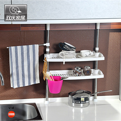 Double celebration kitchen dual drain rack shelving double bath finishing rack storage rack drain dishes (7007)