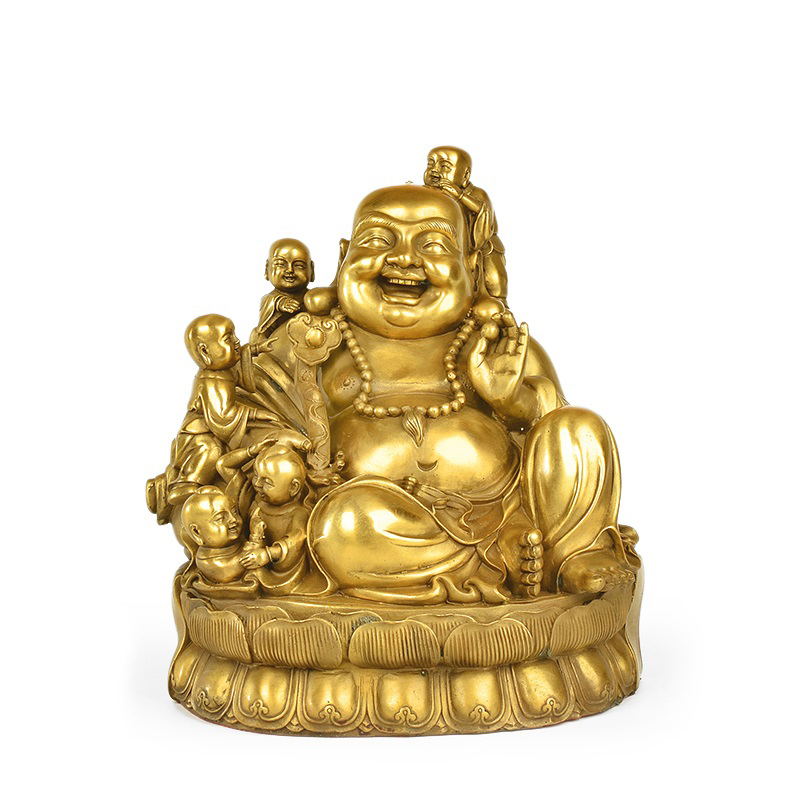 Double copper versatile five sub lucky laughing buddha maitreya buddha ornaments living room tv cabinet home feng shui ornaments