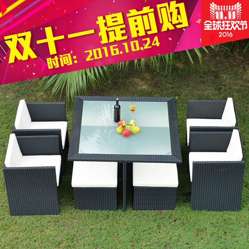Double di balcony casual outdoor furniture rattan chairs coffee table wujiantao combination of outdoor patio rattan chairs and coffee tables and chairs