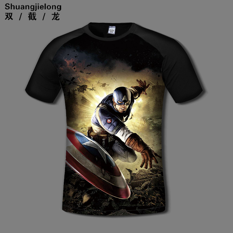 Double dragon 2t-shirt avengers captain america t-shirt ink style summer men short sleeve sports and fitness