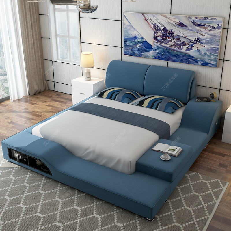 Double fabric bed bedroom furniture fabric bed soft bed leather bed fabric bed storage pibu