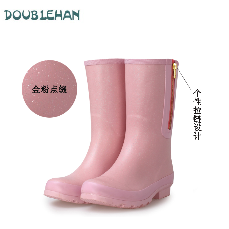 Double han yourgumbootsand miss xia ji korean version of a solid color in spring and autumn female fashion rain boots in tube water shoes rubber boots rubber overshoes