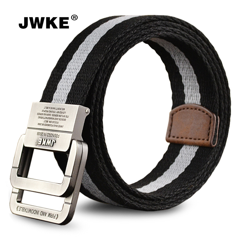 Double loop buckle canvas belt canvas belt men's outdoor sports and leisure fashion waistband belt trend of young students