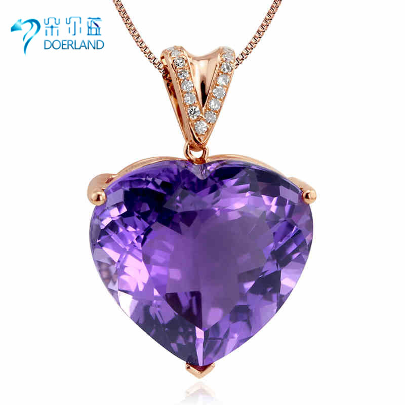 Doyle blue multicolored brazil natural amethyst pendant 10.5 karat k rose gold diamond heart pendant