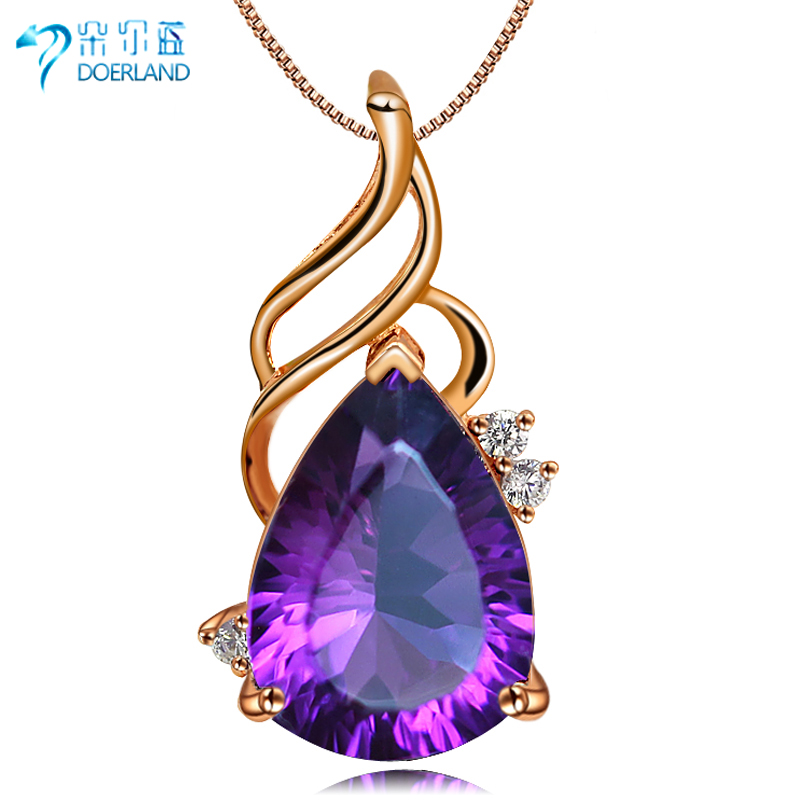 Doyle blue multicolored natural amethyst pendant 925 silver plated rose gold necklace female short paragraph to send his girlfriend