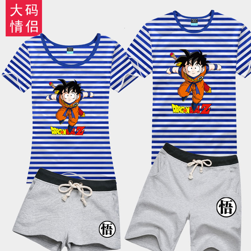 Dragon ball goku sea striped shirt t-shirt cartoon clothes teenagers tide brand pure cotton short sleeve shorts suit
