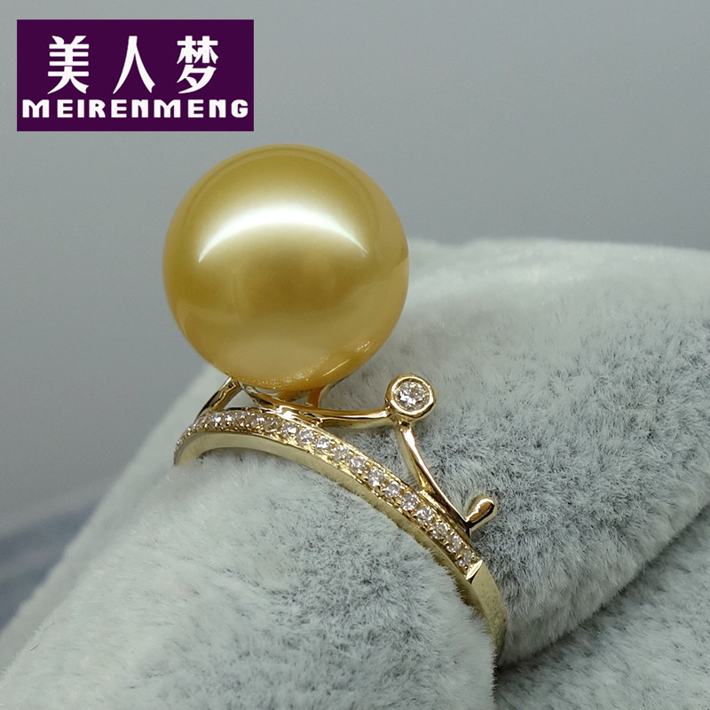Dream beauty crown nanyang kim k gold diamond japanese akoya pearl ring ring black pearl ring