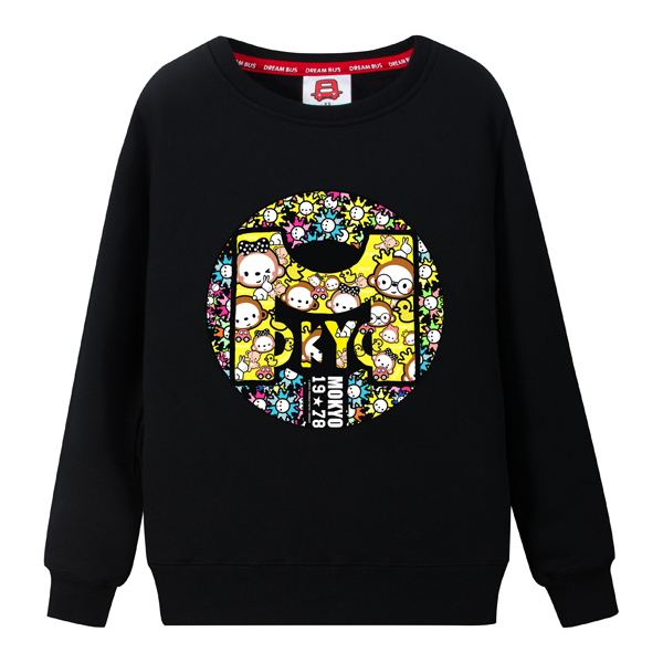 Dream bus crown monkey cartoon hedging round neck sweater lovers fall and winter clothes plus velvet coat mokyo 030