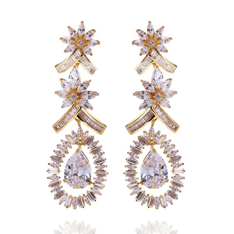 Dream love fashion jewelry earrings long section of european and american plating gold and white zircon earrings female influx of people