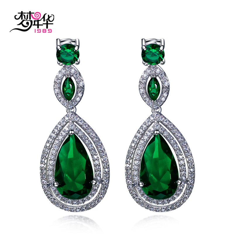 Dream love fashion jewelry sweet fashion female models plating white artificial zircon earrings earrings new