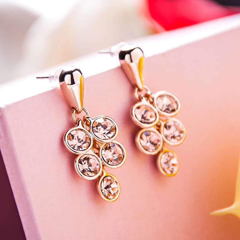 Dream of summer flowers in europe and america temperament ol wind round diamond crystal diamond earrings gold plated earrings ear jewelry female