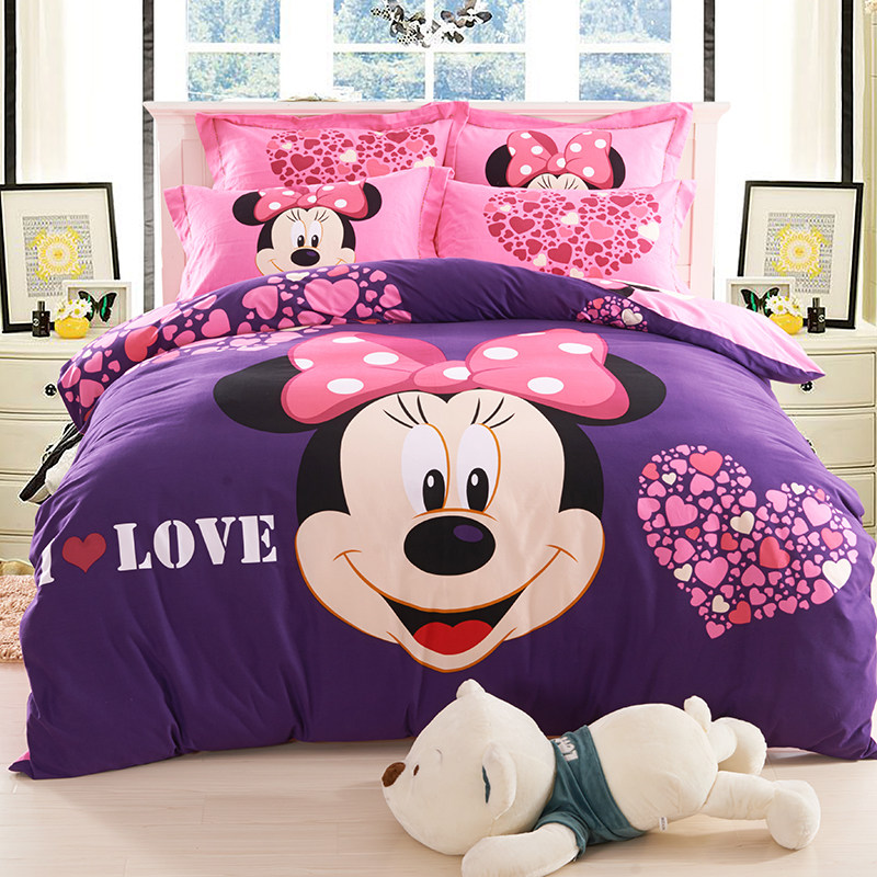 Dressed up cotton sanding thick quilt mickey cartoon children's bed linen single student dormitory bedding a family of four seasons