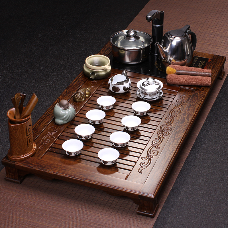 Drunk carpenter mahogany wenge wood tea tray tea tray ru yixing tea tray cooker wood tea set special offer free shipping