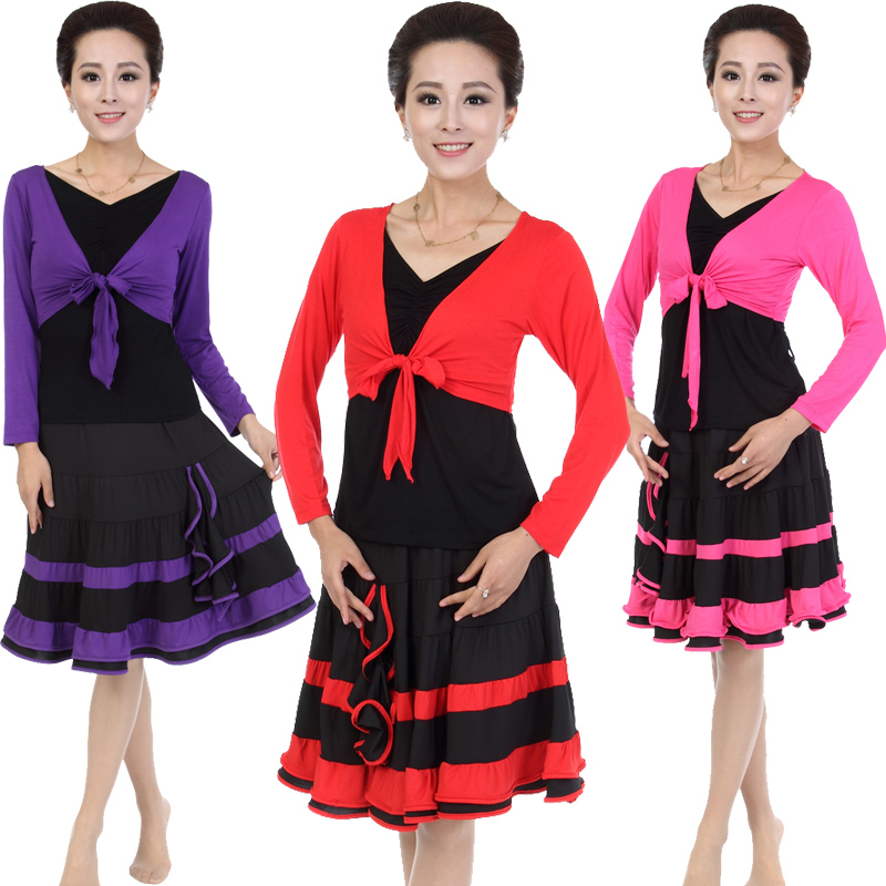 Duo lafen 2016 spring new fake two middle-aged square dance clothing new suit square dance dance practice skirt skirt jitterbug
