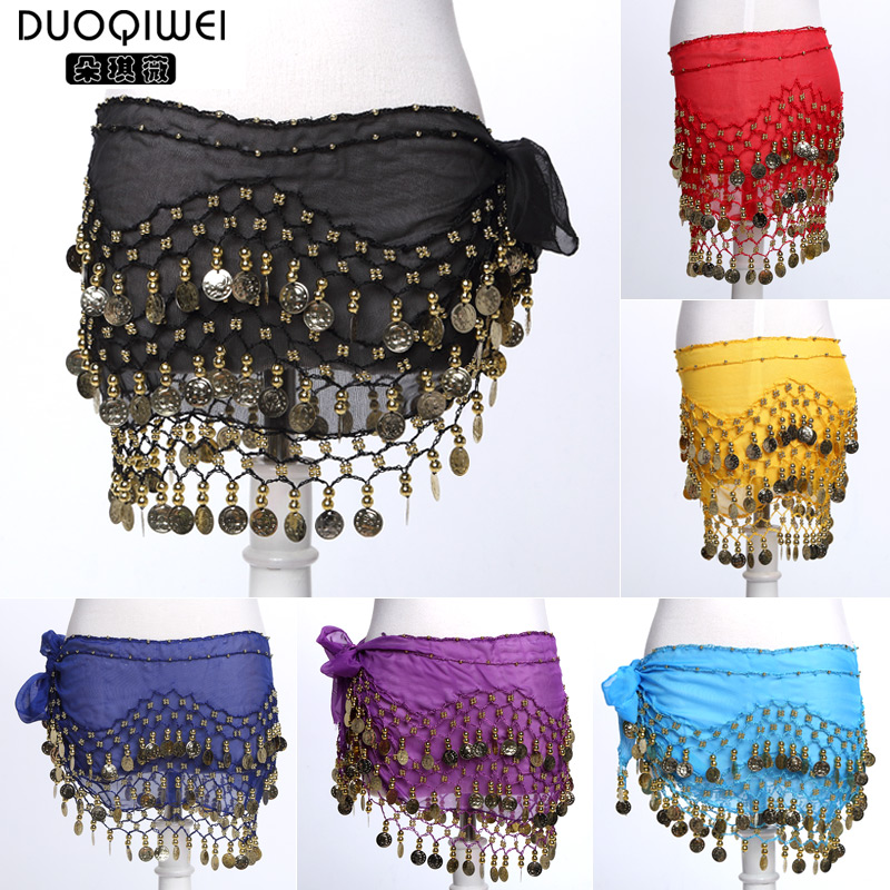 Duo qi jorvi hot chiffon belly dance waist chain/128 coins chiffon waist special genuine
