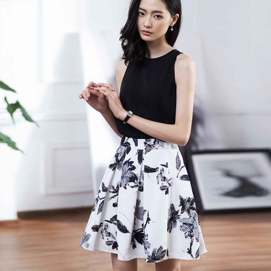 Dust yan 2016 spring and summer new ol temperament loose big swing skirts short skirt printing ink d188