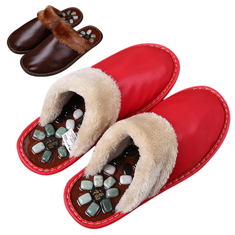 Duzui monkey cobblestone foot massage reflexology foot massage slippers home in autumn and winter thick paul warm cotton slippers men and women couple