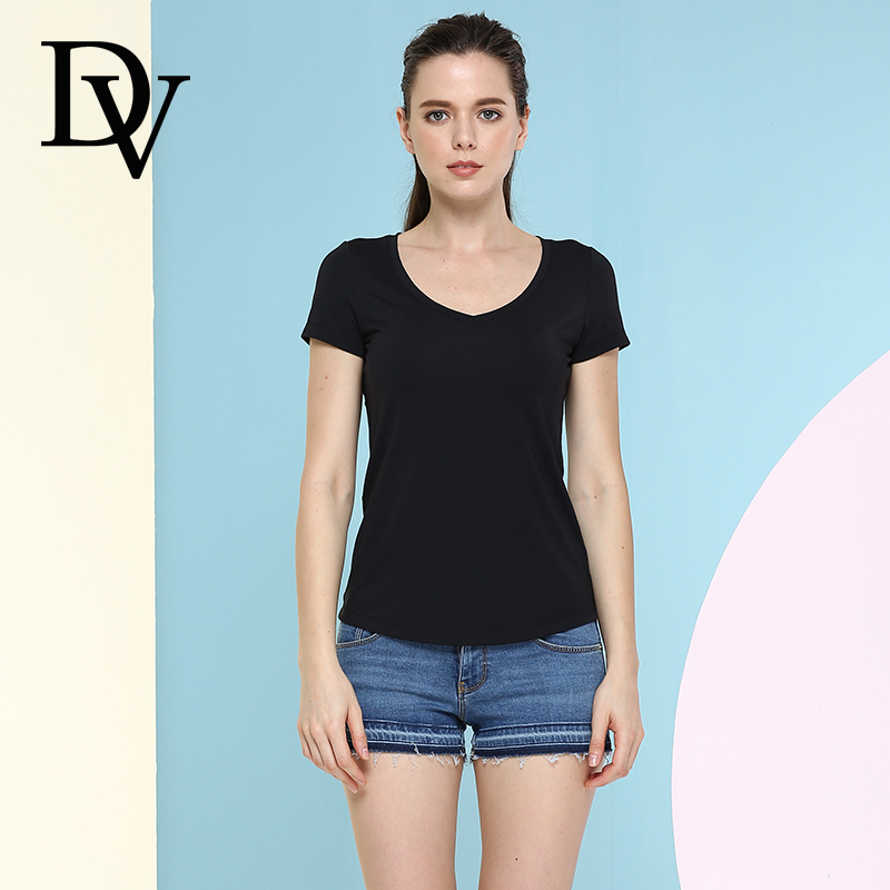 Dv ms. summer t-shirt t-shirt korean version of slim simple solid color round neck short paragraph coat was thin big yards short sleeve