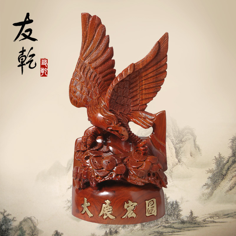Eagle grand plans eagle carved wooden ornaments crafts ornaments lucky feng shui living room home decor desk