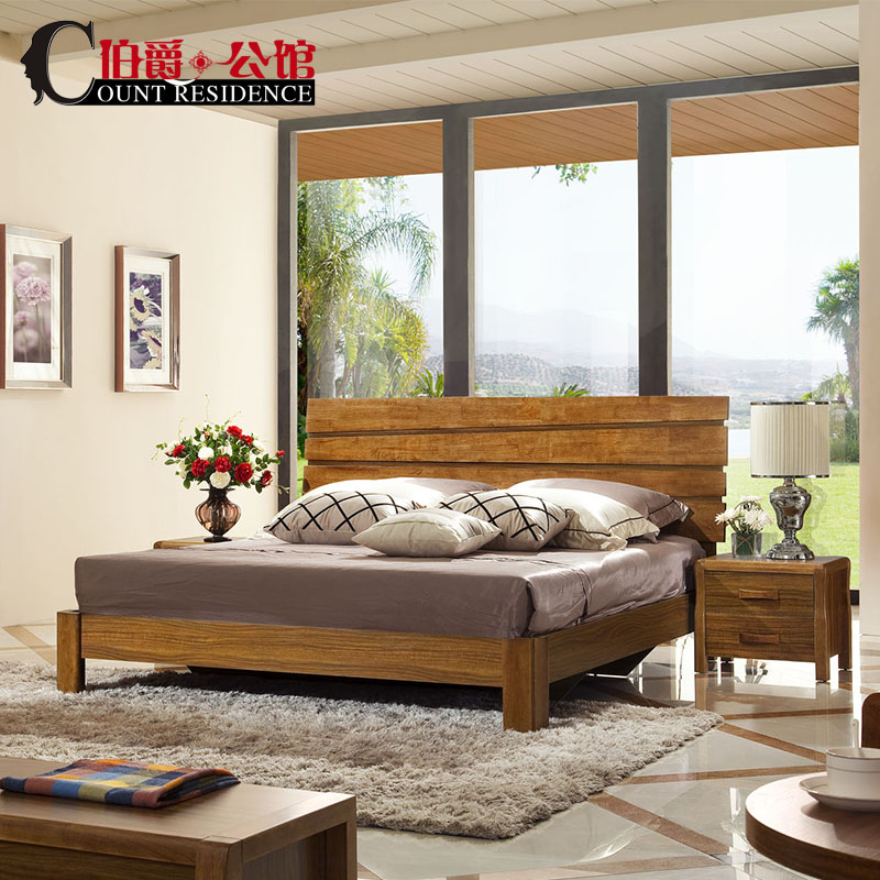 Earl mansion modern chinese style double bed wood bed 1.5 m high box bed