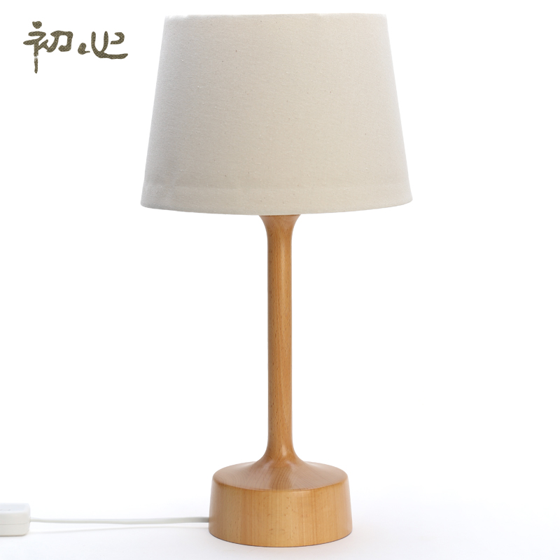 Early heart beech wooden table lamp simple and stylish european living room table lamp study bedroom bedside lamp creative table lamp