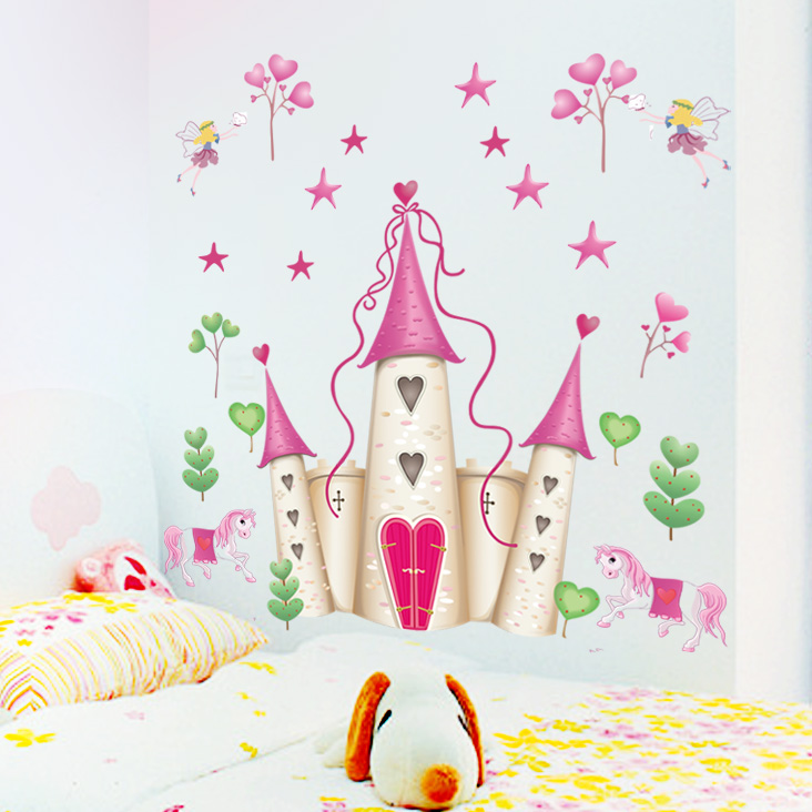 Easy gifted children cartoon decorative stickers cartoon sticker removable wall stickers romantic castle kindergarten