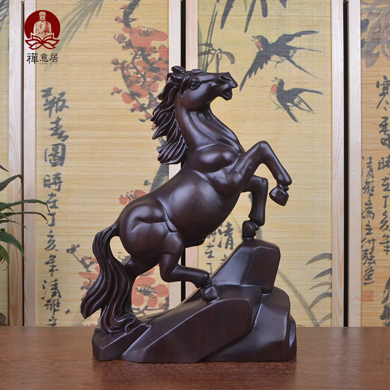Ebony wood carving wood crafts mahogany carvings lucky horse ornaments madaochenggong horse ornaments crafts decorative gift