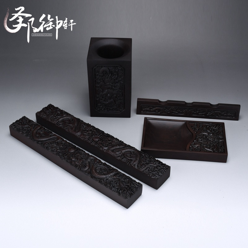 Ebony wood mahogany four treasures town ruler suits penholder pen ink stone carving crafts ornaments study
