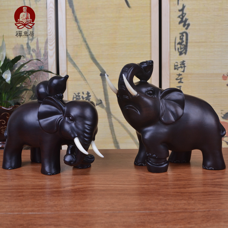 Ebony wood mahogany wood carving crafts lucky one pair of elephant animal quality baby elephant elephant wood crafts ornaments