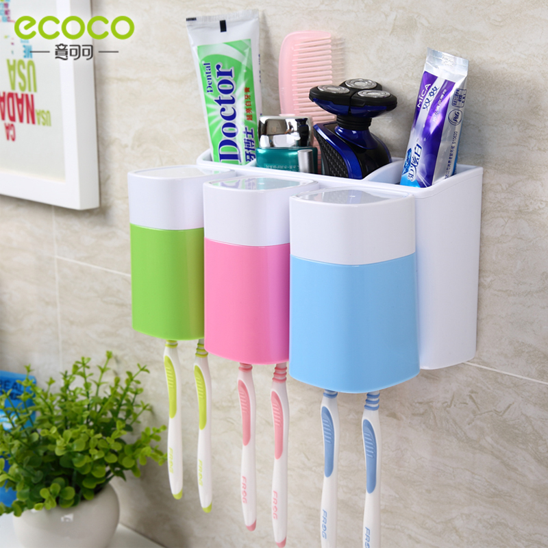 Ecoco/italian cocoa wall suction toothbrush holder suit a family of three wash suit toothpaste toothbrush holder wall mounted