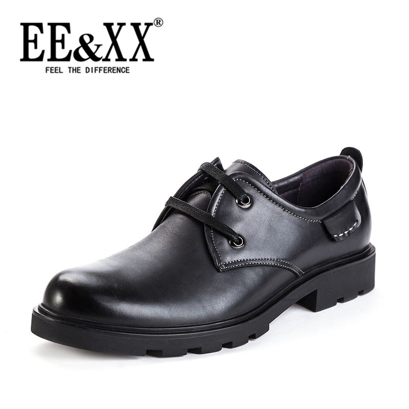 Eexx business casual men's shoes 2016 autumn new first layer of leather shoes round lace low shoes 4471