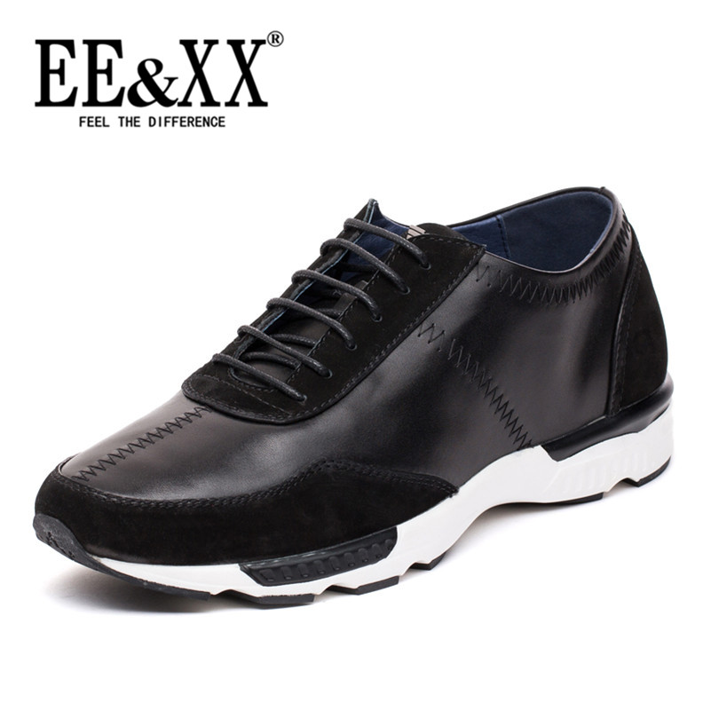 Eexx everyday casual men's first layer of leather men's shoes tide shoes lace round sports shoes breathable running shoes 8696