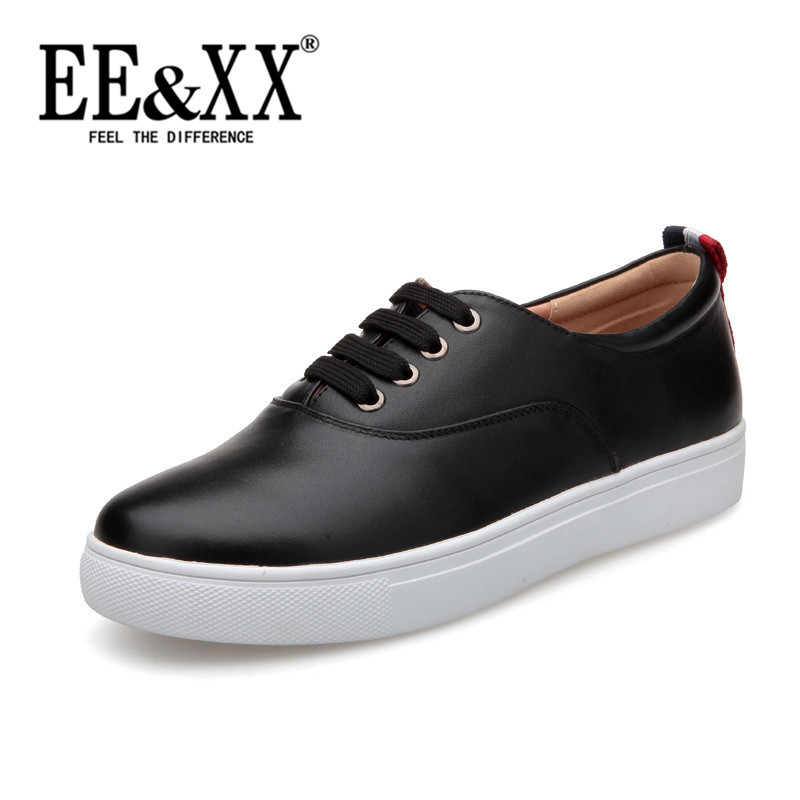 Eexx fashion round flat shoes 2016 new deep mouth lace shoes korean ladies casual shoes to help low 4507
