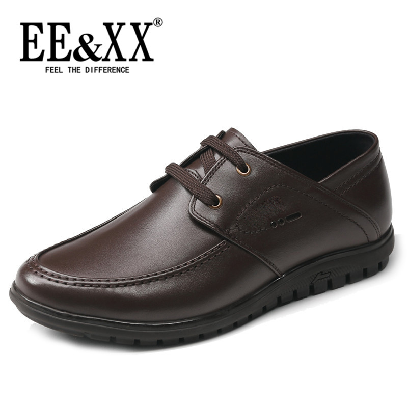 Eexx men's business casual shoes lace round wild casual wear and soft leather shoes first layer of cow leather shoes 4863