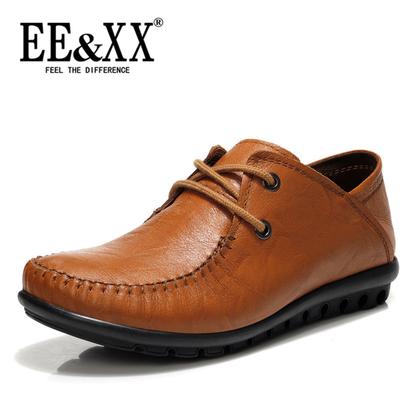 Eexx new 2016 round flat with solid color casual shoes lace shoes first layer of cow leather shoes 1282