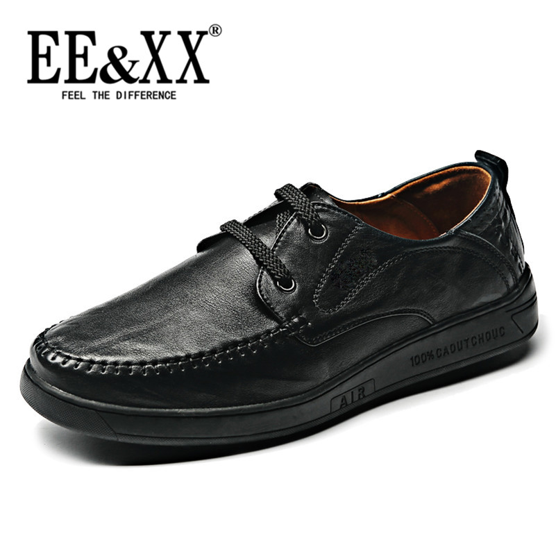 Eexx new fashion first layer of leather shoes wild round lace low shoes breathable leather soft bottom shoes 4008
