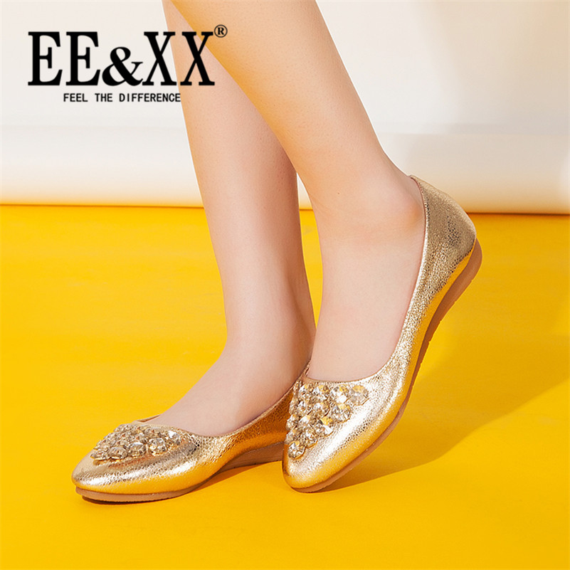 EEXX2016 spring new shallow mouth to help low flat shoes with rhinestone casual stylish and comfortable rubber adhesive shoes 3581