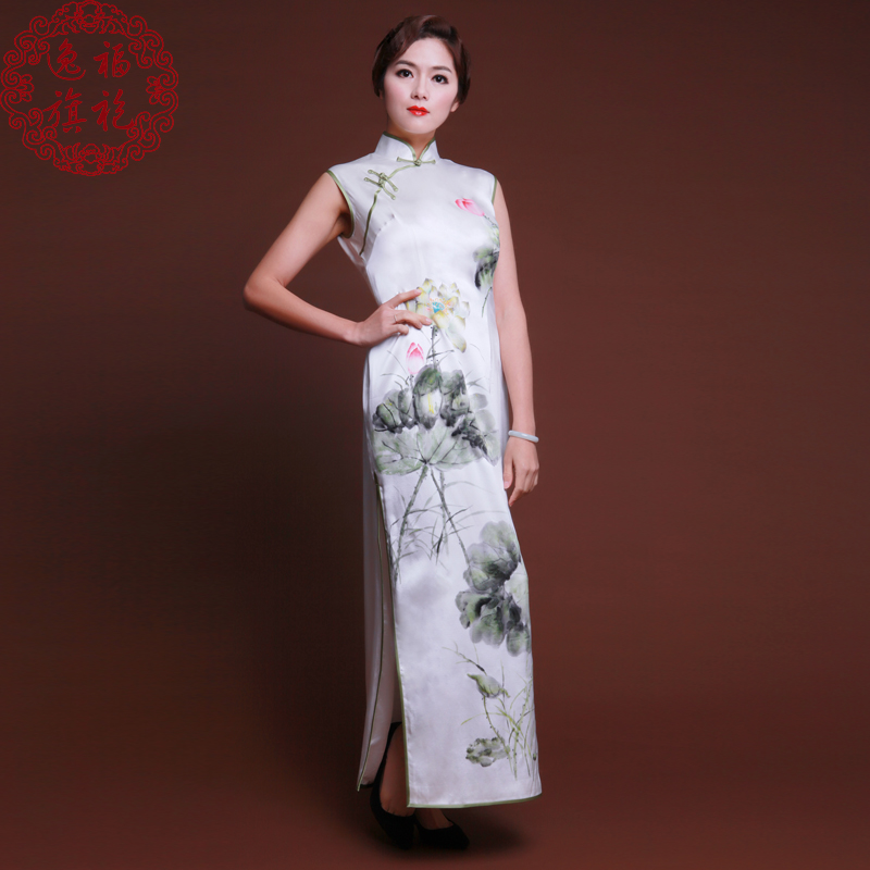 Efu/yi fu new painted cheongsam heavy silk handmade long section banquet cheongsam chinese dress chinese style