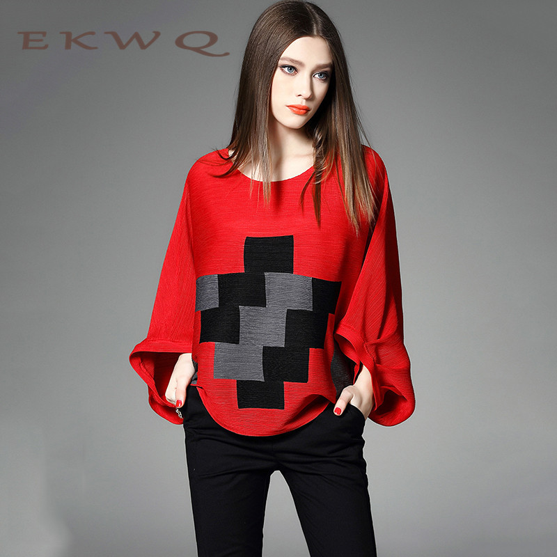 Ekwq casual loose large size women 2016 autumn new lace stitching hedging round neck lantern sleeve 6084