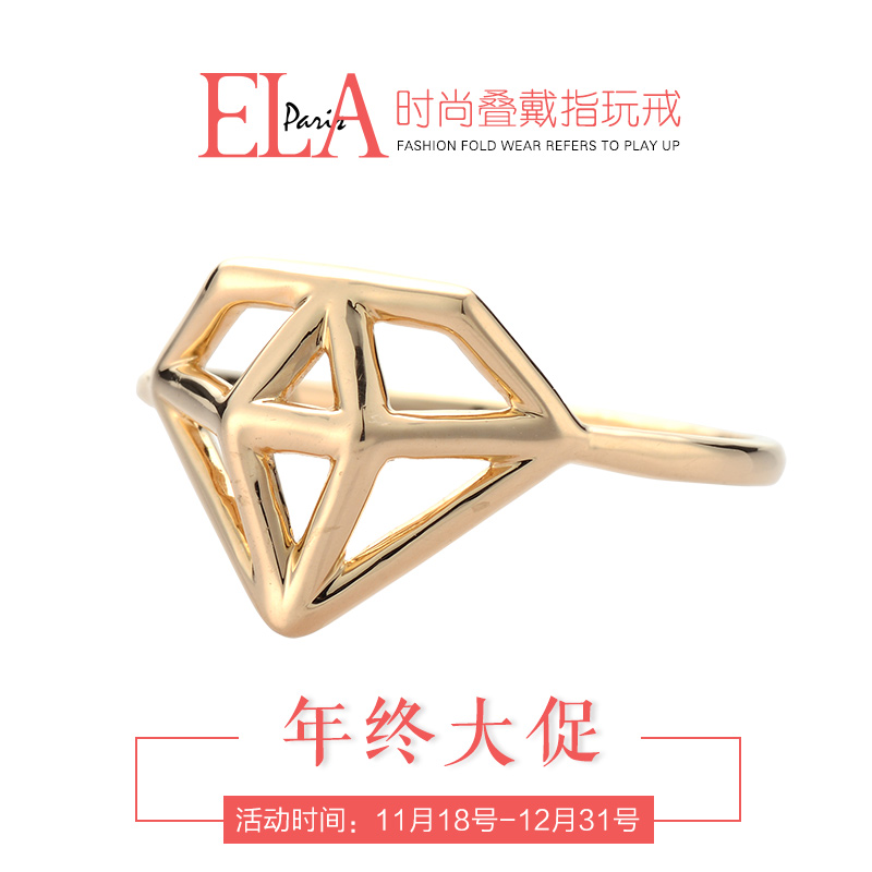 Ela k yellow and rose gold diamond shaped fashion ring tail ring joint ring female models genuine birthday gift