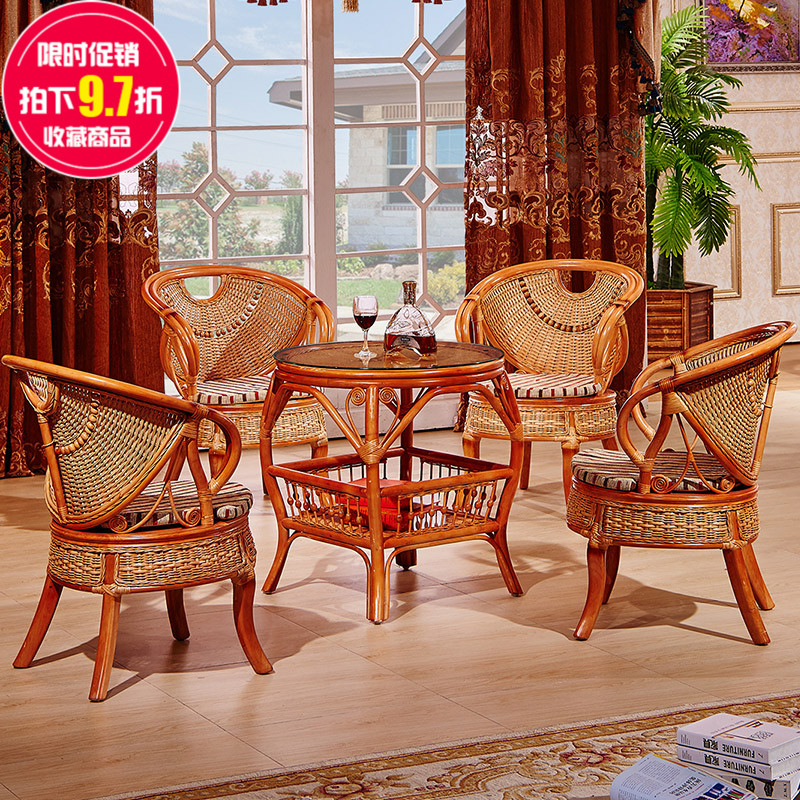 Elegant color casual rattan wicker chair wujiantao three sets of outdoor furniture balcony chairs courtyard terrace chairs for the elderly