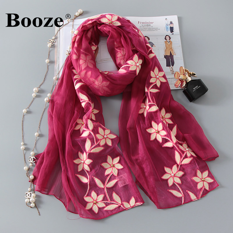 1934b2ac62114 Get Quotations · Elegant embroidered stereo hook flower lace rectangular scarf  shawl ms. gradient handmade beaded chiffon