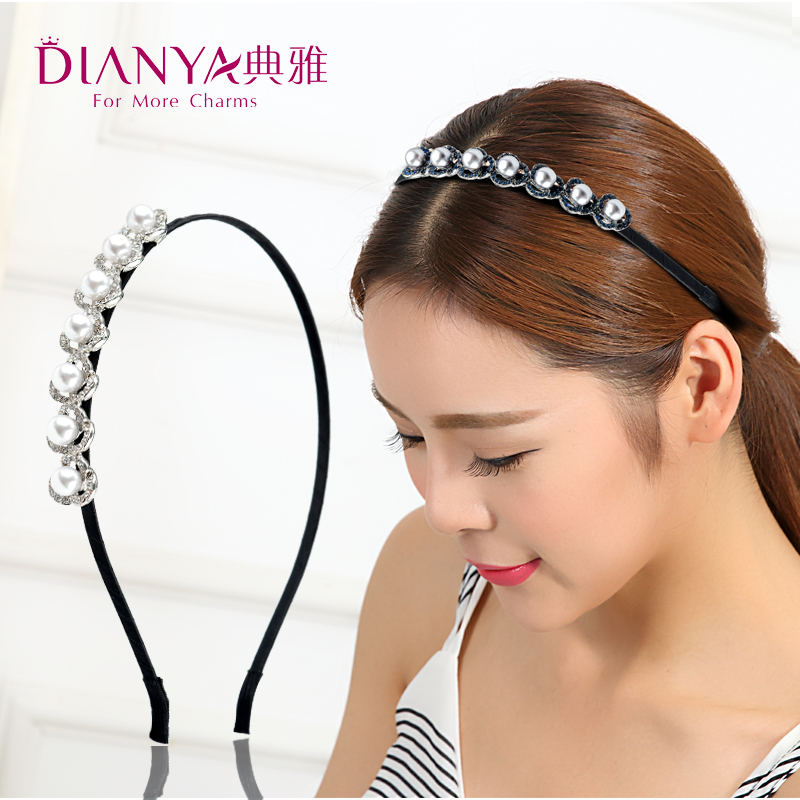 Elegant rhinestone imitation pearl hair bands hair accessories korea headband hair band hairpin korean korean version of the pressure bangs hair headdress