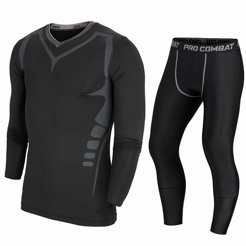 Elite pro unitard pattern long sleeve pants suit sports suit breathable wicking clothing fitness training clothes men