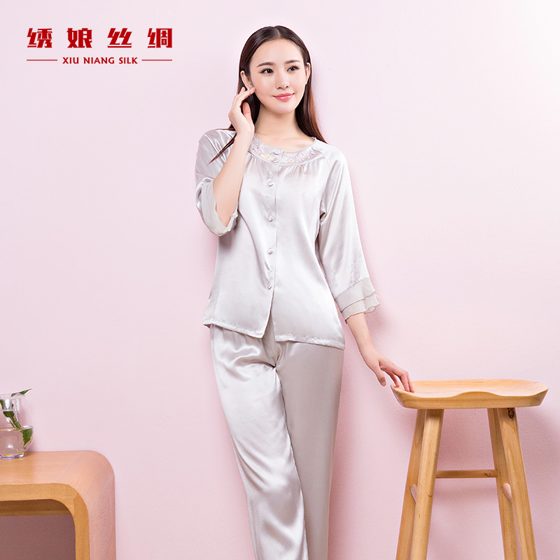 Get Quotations · Embroidered mother silk georgette embroidered spell sleeve  silk pajamas women tracksuit embroidery chinese style spring and 65469dcb3